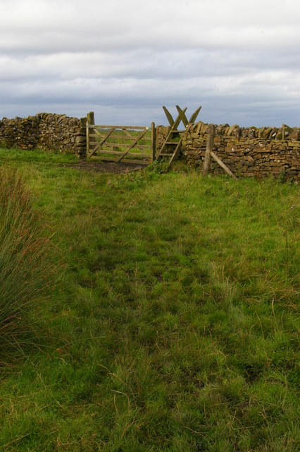Pennine Way crossing wall north of Hotbank Crags