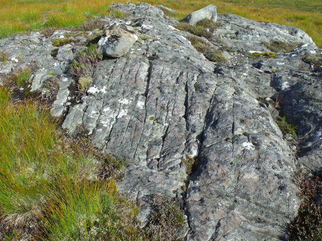Scarred bedrock on bealach east of An Cam-allt above Glen Affric