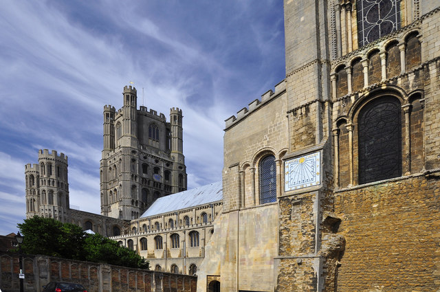 Towers and sundial - Ely Cathedral