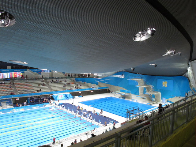 Inside the Olympics aquatics centre, view to finish and diving areas