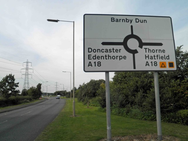 Roundabout ahead on Hatfield Lane