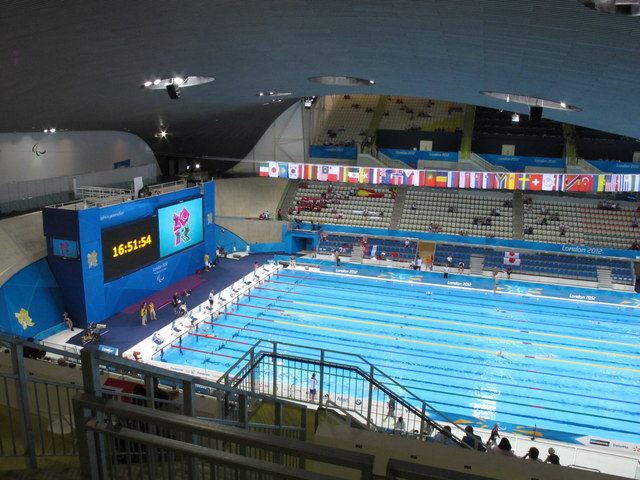 Olympics Aquatics Centre, turn end, big screen and flags