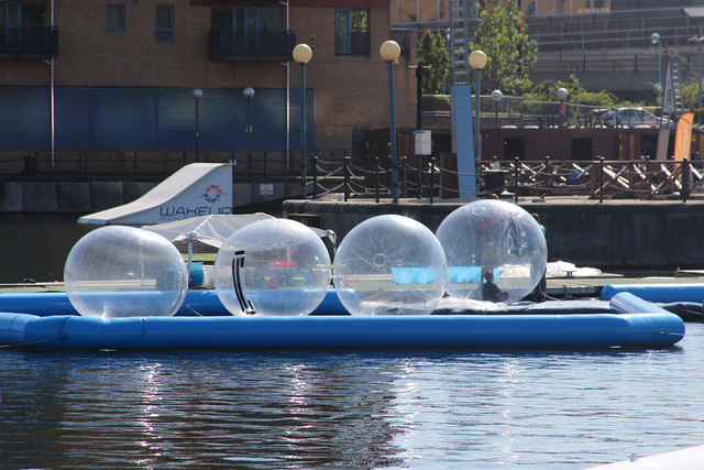Water zorbing, Royal Victoria Dock