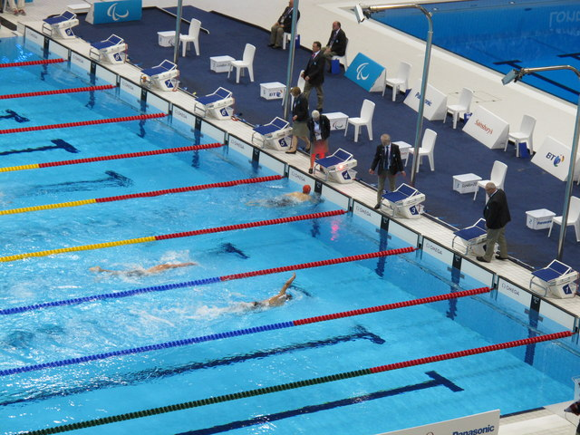 Paralympics swimming, Josef Craig of GB finishes first