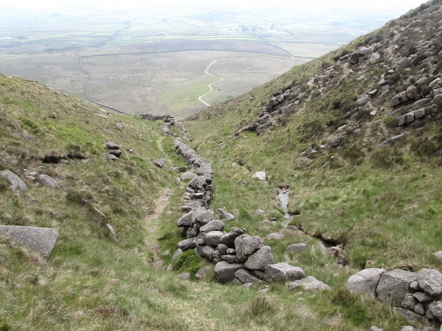 Path, wall and stream on the south side of Slieve Binnian