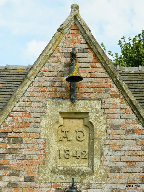 School bell and datestone on the Old Schoolhouse, Langar