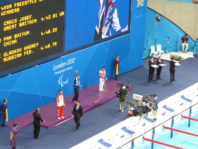 Olympics swimming medal ceremony