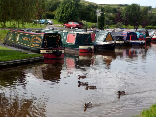Ducks and barges on the Peak Forest Canal