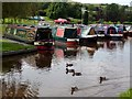 SK0083 : Ducks and barges on the Peak Forest Canal by Graham Hogg