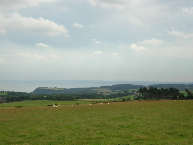 Looking down the coast from the road above Ravenscar