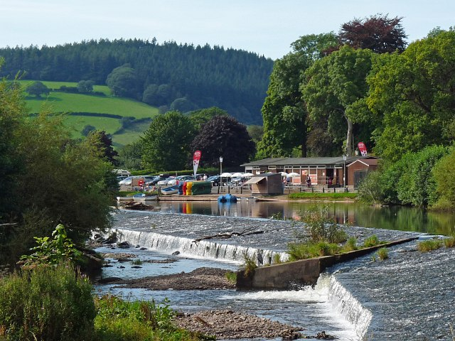 Weir on the River Usk at Brecon