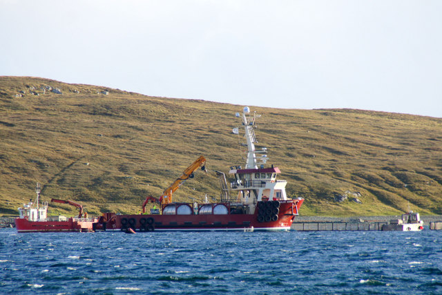 MV Helen Burnie at fish cages off Uyea