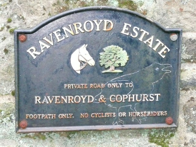 Sign at entrance to the Ravenroyd Estate, Bingley