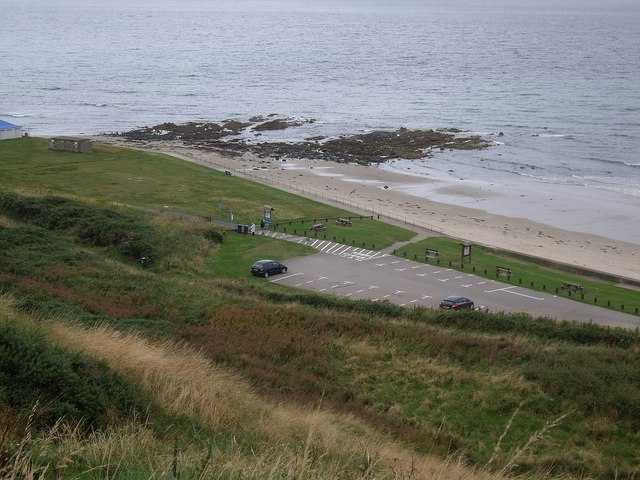 Banff Links carpark and 'The Tumblers'