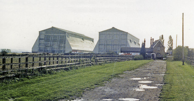 Cardington station (remains) and Airship Sheds, 1987