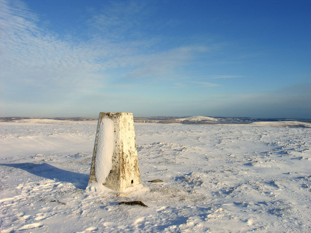 Trig point at summit of Meikle Says Law