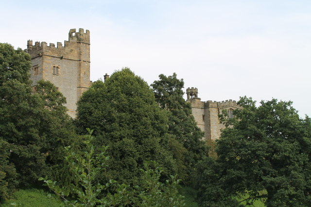 Haddon Hall behind the trees