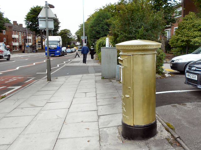 Eccles Old Road, Gold Post Box
