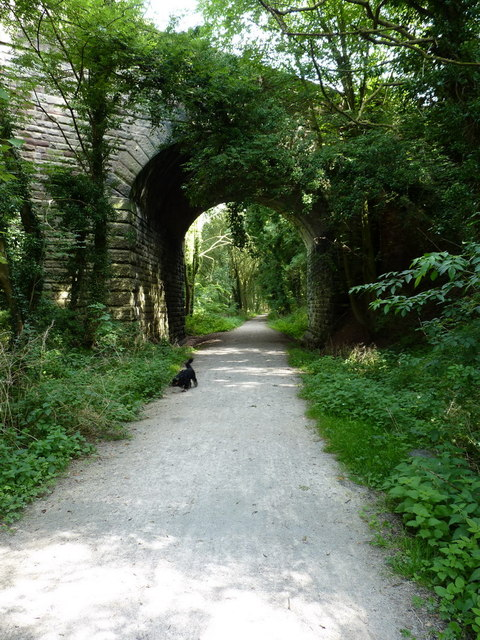 The A518 crosses the old railway