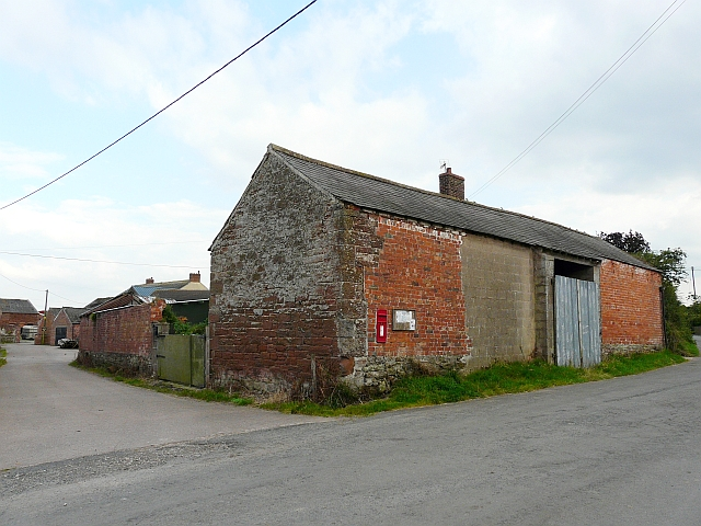 Barn with post box and noticeboard, Lessonhall