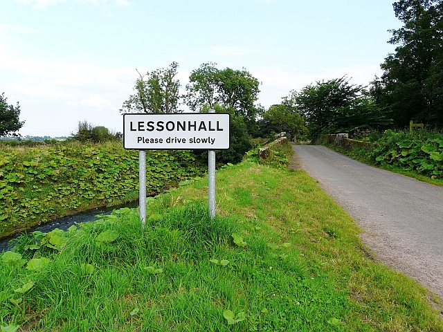 Road sign, coming in to Lessonhall