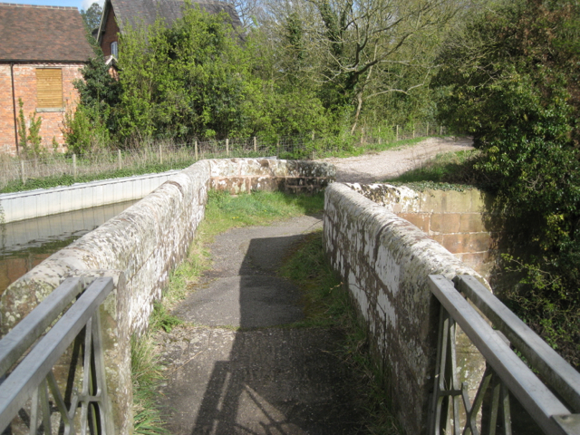 East end of stone footbridge over the River Blythe