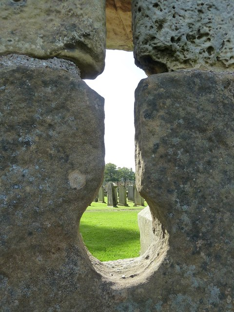 St Andrews - churchyard through arrow slit