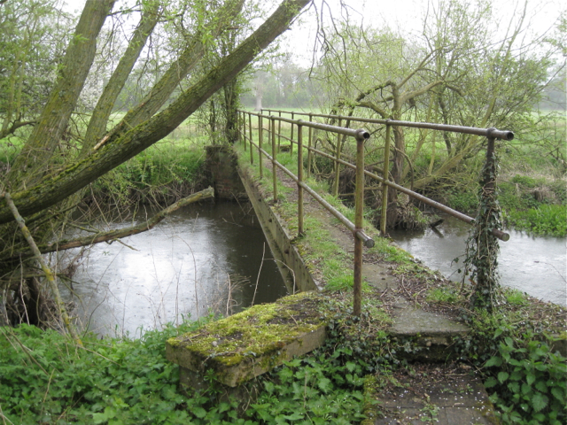 Footbridge across the Blythe in the rain