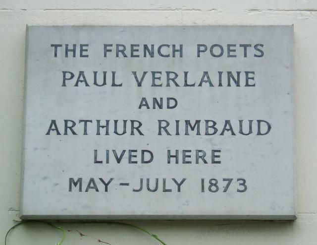Photo of Arthur Rimbaud and Paul Verlaine white plaque