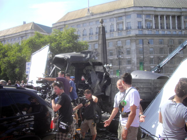 Film set on Lambeth Bridge