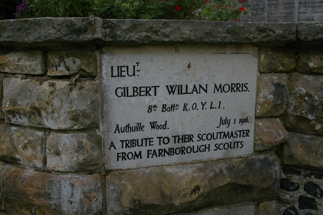 Farnborough, church of St. Giles the Abbot: memorial plaque to Lieutenant Gilbert Willan Morris, scoutmaster