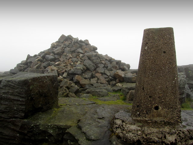 Trig Point and Summit Cairn on Great Whernside