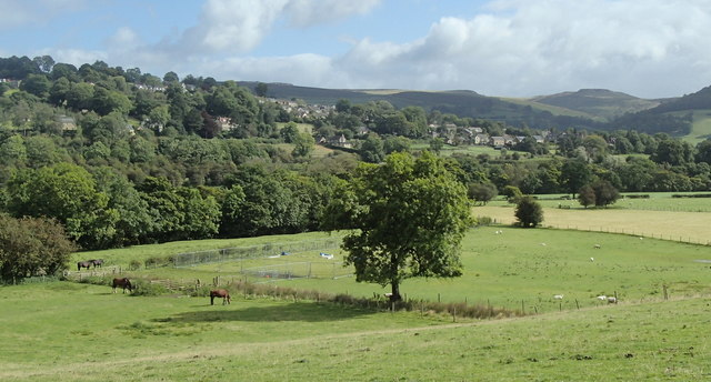 Derwent valley fields and view towards Hathersage