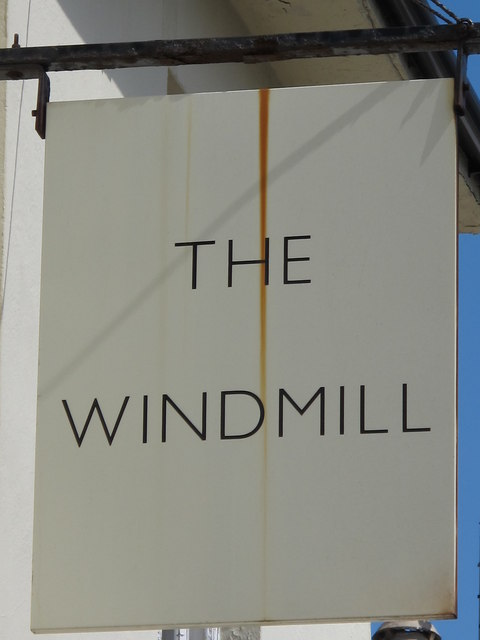 Sign for The Windmill, Upper North Street / Clifton Place, BN1