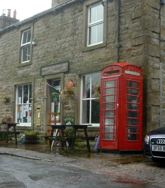 Gold Post Box at Hebden Post Office