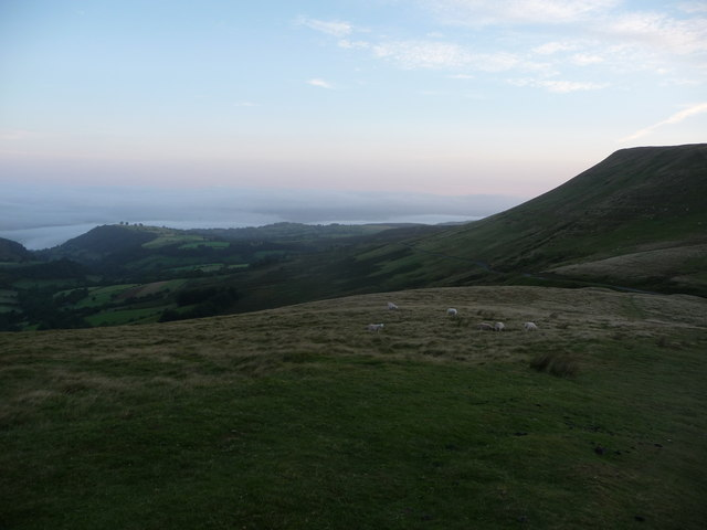 View northwards from the path up Twmpa from Gospel Pass