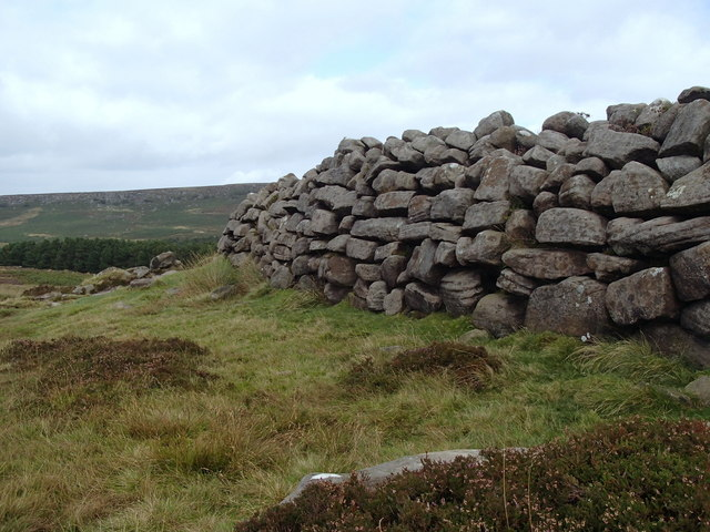 Wall of massive stones at Carl Wark