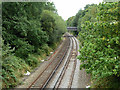 Dist:0.2km<br/>The Shepperton branch, with ahead the bridge carrying the A313, Park Road.