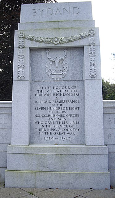 VII Battalion Gordon Highlanders WWI memorial