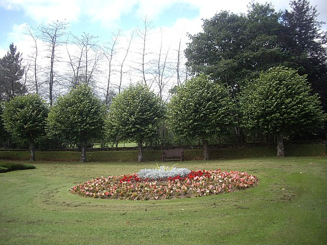 Flower bed and bench seat in War Memorial garden