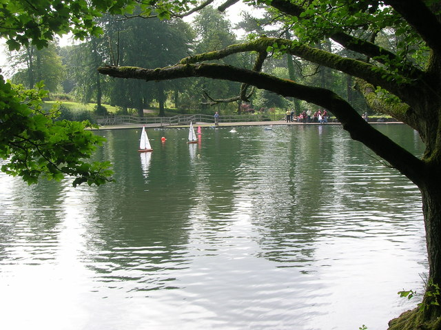 Model boats on the lake at Margam Abbey
