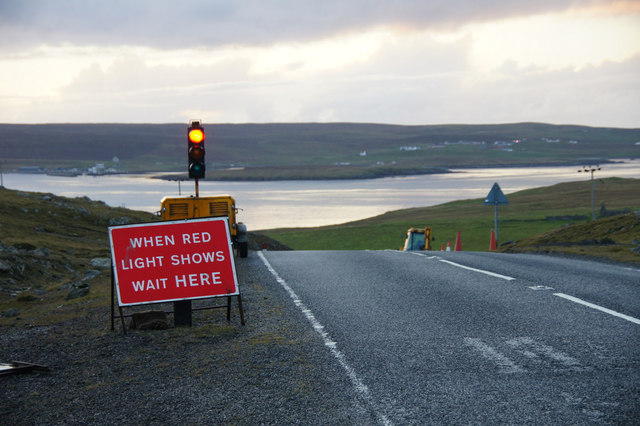 Roadworks on the A968 above Snarravoe