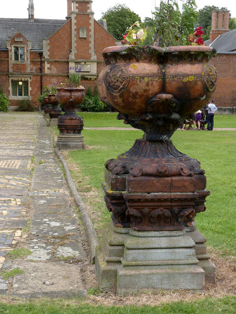 Urns on the terrace at Kelham Hall