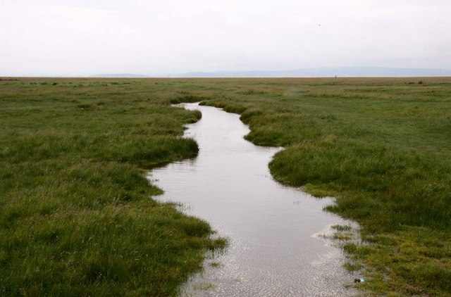 Drain in the marshland at Bolton-le-Sands