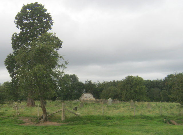 Abandoned graveyard at the site of the ruin of St John's Church at Low Worsall