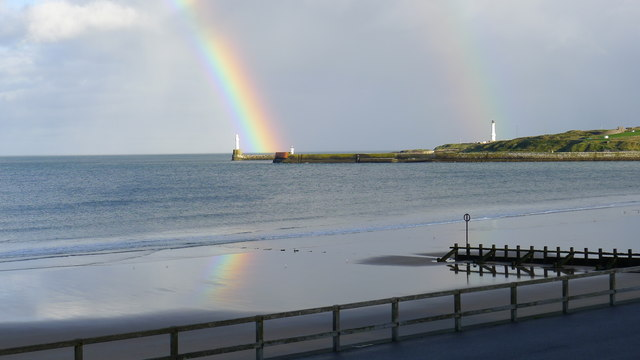 Rainbow over Aberdeen harbour entrance