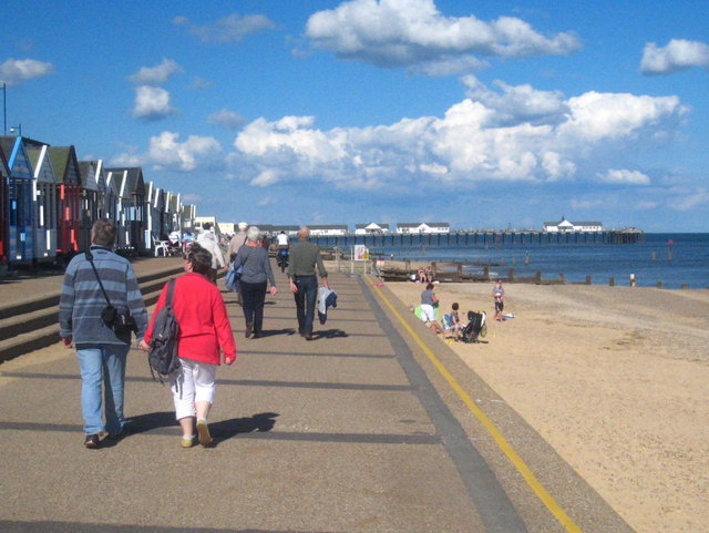 Strolling on the promenade in Southwold