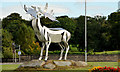 J1219 : Irish elk sculpture, Warrenpoint by Albert Bridge