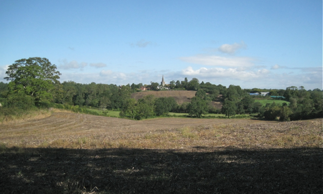 Harvested field below Forde Hall Lane