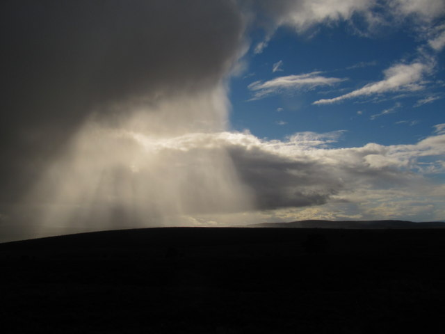 Rain passing over Meikle Hill